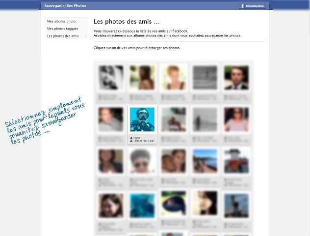 Choisir les amis pour lesquels vous voulez télécharger les albums photos.